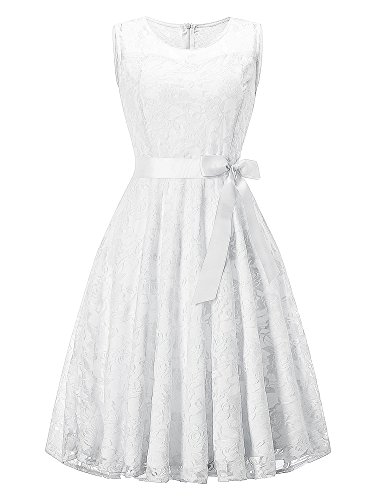 HENCY Damen Spitzen Rockabilly Kleid Festlich Partykleid Cocktailkleid Brautjungfern Kleid Rundhals...