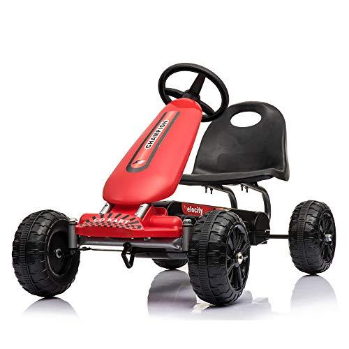 Missley Go Karts 4 Runden Tretfahrzeug Tretauto Mini-Auto für Kinder von 4-8 Jahren (Rot)