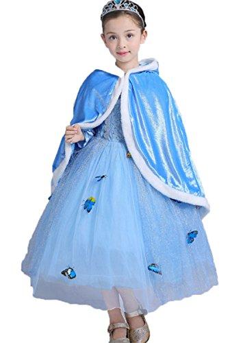FAIRYRAIN Mädchen Prinzessin Kostüm Cosplay Halloween Schmetterling Eiskönigin Karneval Faschingskostüm Festkleid Maxi Kleid (Kostüme Kleinkinder Holloween)