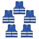 AIEOE 5 Stück Warnweste Set Atmungsaktive Sicherheitweste Unisex Pannenweste Reflektierende Schutzweste - Blau und Grau