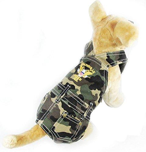 SELMAI Camo Stickerei Kleine Hund Katze Overall Overall Hose Baumwolle Haustier Welpen Polizei Kostüm Halloween Junge Männlich Cosplay Outfits Kleidung
