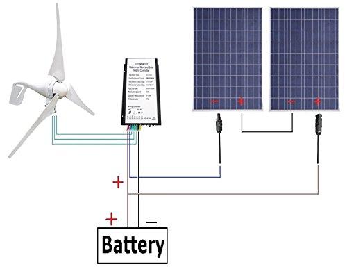 ECO-WORTHY 600W 24V Windkraft und Solarstromanlage Kits:2 x 100w Solarmodul 12v Solarpanel W/ 400W Windkraftanlage 12V/24V Windgenerator Windkraftgenerator
