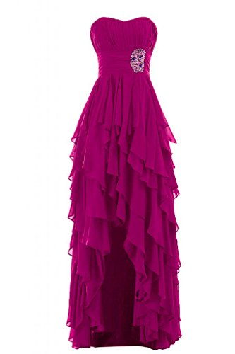 Sunvary Liebling Herzform Traegerlos Abendkleider Hi-Lo Chiffon  Cocktailkleider Brautjungfernkleider Partykleider Fuchsie