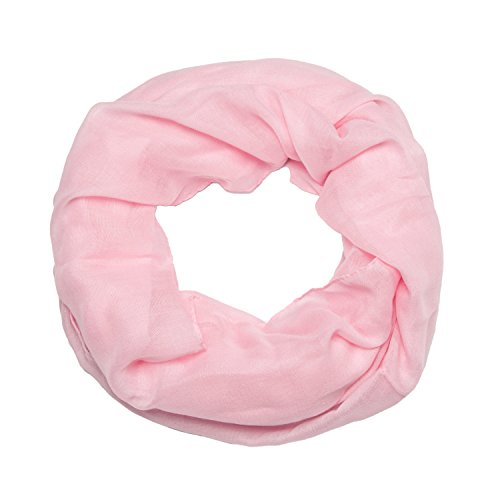 ManuMar Loop-Schal einfarbig | Hals-Tuch in Uni-Farben | einfarbig Hell-Pink als perfektes Sommer-Accessoire | klassischer Damen-Schal - Das ideale Geschenk für Frauen