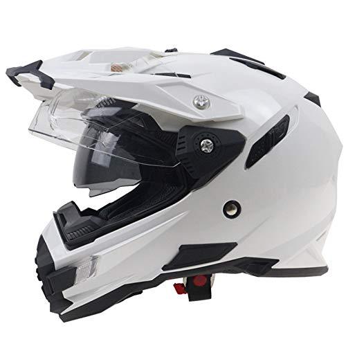 G-AVERIL Integrale Moto Casco Dual Sport Dirt Bike Motocross MX Off-road Crossover ADV Hybrid Enduro Double-D Rings Fastener DOT Certified bianco