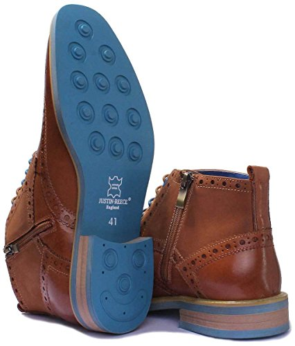 Justin Reece Bottines à lacets en cuir pour hommes, taille UK 6 - 12. Marron - Brown WE1