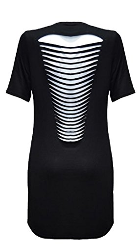 Fashion Essential-Ladies Slogan imprimé graphique Slashed Ripped manches courtes T-shirt Robe Black