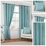 Home Sweet Home UK Duck Egg Blue Faux Suede Lined Soft Curtains Ring