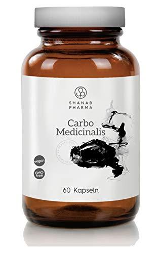 Carbo Medicinalis Kapseln - Shanab Pharma | Hochdosierte Natürliche Aktivkohle zur Entgiftung, Verdauung & Detox | Gegen Blähungen | Ohne Zusätze | 60 Kapseln | Glasflasche