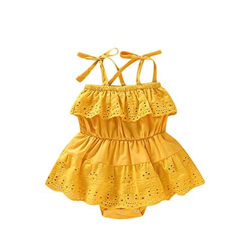 Realde Mädchen Baby Ärmellos-Body im Mode Lace Schulterfrei Sling Jumpsuit Sommerkleid Kleidung Elegant Achselbody im Cocktailkleid Festlich Babybekleidung Abendkleid Partykleid - Reiten Krawatte