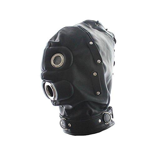 Isolationsmaske Sklaven Maske Masken Cosplay Maske Halloween Masquerade Masken Kostüme Spandex Schwarz Bondage Leder Kopf Maske gepolstert SM Sex Spielzeug, Cosy-L