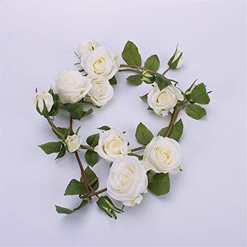MAICHIHUOY 2pack Künstliche Blume Rosen Girlanden Simulation Reben Hängende Dekoration Blätter Dekor Hochzeit Party Garten