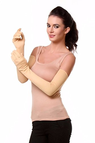 Kuber Industries Cotton Gloves, Arm Sleeves Gloves, Sun Protective Full Hand Gloves 1 Pair- Cream (KI01101)  available at amazon for Rs.229