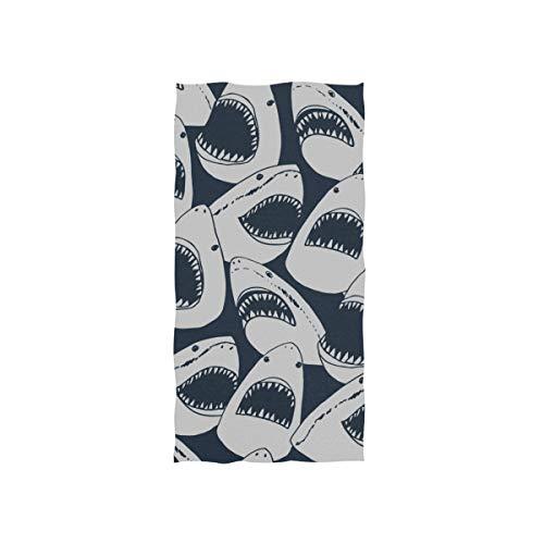 Shark Sägezahn Ozean Fischschwanz Soft Spa Strand Badetuch Fingerspitze Handtuch Waschlappen Für Baby Erwachsene Badezimmer Strand Dusche Wrap Hotel Reise Gym Sport 30x15 Zoll -