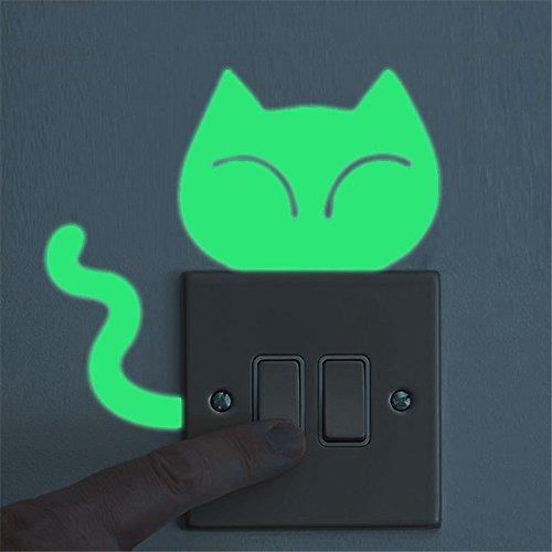 (Yvelands Cute Creative Kitten Cat Leuchtende Nachtleuchtende Glow Switch Wandaufkleber Wohnaccessoires)