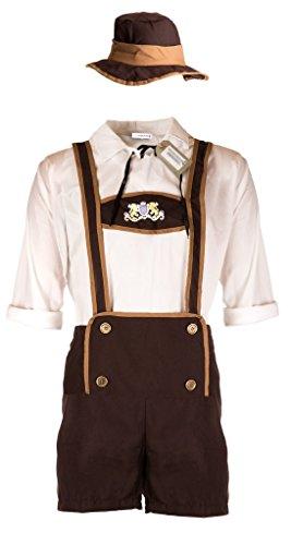 Oktoberfest Kostüm von Emma's Wardrobe – komplett-Set, Outfit mit Hemd, Hosenträgern und Hut, Kleidung für z.B. Fasching, Karneval, Party oder Wiesn, weiß braun (XX-Large, Brown) (Oktoberfest Herren Trachten)