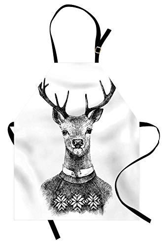 Indie-Schürze, handgezeichnete Hirsch Porträt in einem nordischen Stil gestrickten Pullover Hipster Weihnachten, Unisex-Küche Latzschürze mit verstellbarem Hals zum Kochen Backen Gartenarbeit, Charcoa
