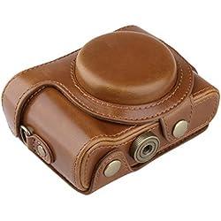 PDXD-share Étui PU-cuir, Housse pour appareil photo Sony Cyber-shot DSC-HX60 HX50 HX30 Compact numérique (Marron)