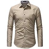 Kuson Herren Herren Businesshemd Langarm Hemden Slim Fit Langarmhemd mit Kent-Kragen bügelfrei Business Hochzeit (L, Kahki)