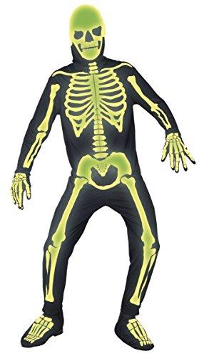 Herren Glow in the Dark Spooky Skelett Jumpsuit Halloween Fancy Kleid Kostüm Outfit M-L-XL