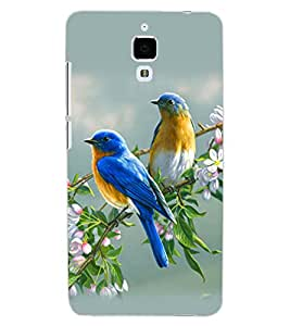 ColourCraft Love Birds Design Back Case Cover for XIAOMI MI 4