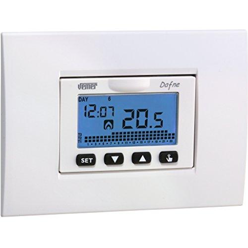 Vemer VN166500 Cronotermostato Dafne da Incasso a Batterie, Bianco/Antracite