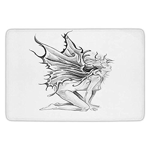 XIEXING Water Absorption Reactive Dyeing Durability Doormat Bathroom Bath Rug Kitchen Floor Mat Carpet,Tattoo Decor,Artistic Pencil Drawing Art Print Nude Fairy Opening its Angel Wings,Black and Whit