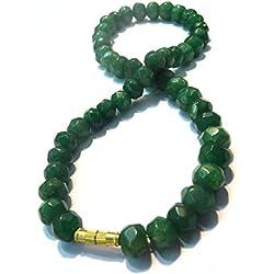 HImalaya Rudraksha Kendra 100 % Original Emerald Green Coloured Jade Gemstone Beads 8 MM Chain Mala Statement Necklace for Women / Girls