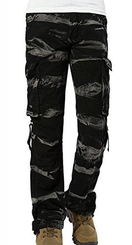 Urbanboutique Damen Kampf lässig Fracht Sechs Tasche Baumwolle Militär Hose DE - Cargo-hosen Camo Frauen