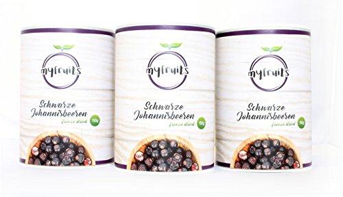 myfruits gefriergetrocknete Johannisbeeren 3er Pack, ganze Früchte, aus 4,5 kg frischen Früchten, ohne Zusätze, knuspriger Snack, perfekt für Müsli oder Joghurt, Abgefüllt in Deutschland (3 x 150g)