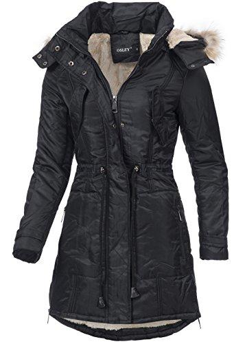 Violet Fashion donna, invernale, os701, caldo cappotto con fodera Teddy, cappuccio & pelliccia ecologica, Nero nero 44