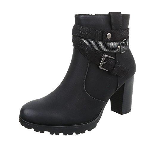 Ital-Design High Heel Stiefeletten Damen-Schuhe High Heel Stiefeletten Pump High Heels Reißverschluss Stiefeletten Schwarz, Gr 40, 9658-