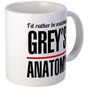 """CafePress - Tazza con scritta in lingua inglese """"I'd rather be watching Grey's Anatomy"""" (preferirei stare vedendo Grey's Anatomy), standard, multicolore"""