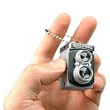 SODIAL (R) Carino Mini Doppia Lente Reflex Doppia TLR stile macchina fotografica LED Flash luce otturatore Suono Portachiavi