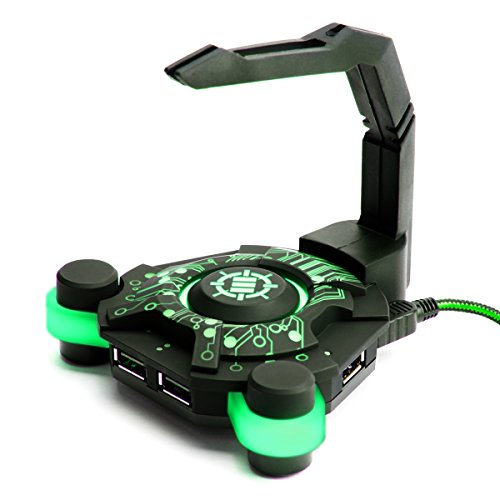 ENHANCE Gaming Bungee Soporte Cable del Ratón con 4 puertos USB / USB HUB Extensión para Mouse / USB LED Elevador de Cable de Ratón Gaming
