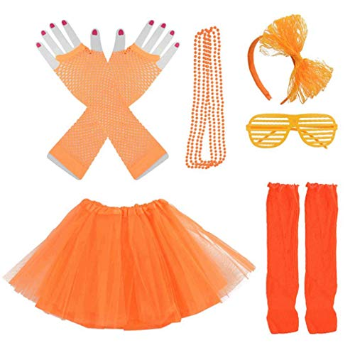 Lystaii 6 in 1 Kinder Mädchen der 1980er Jahre Kostüm Zubehör ausgefallene Outfits Kopfbedeckungen Rock Beinlinge Handschuhe Halskette Brille für Cosplay Thema Party Halloween Dressing Orange (Mädchen Der 80er Jahre-kostüm)