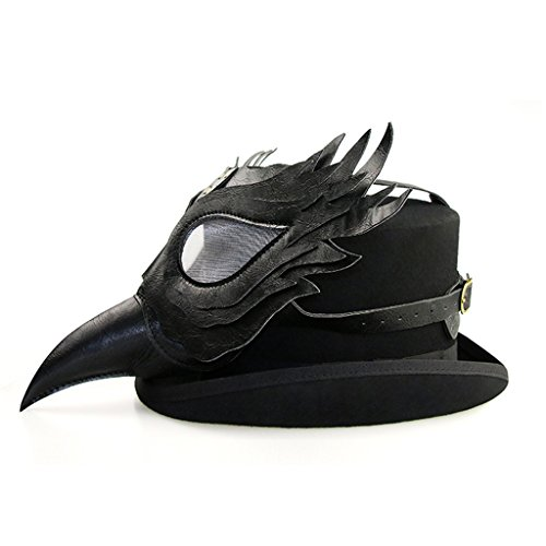 Sharplace Voll Gesicht Lange Nase Maske aus PU Leder Karneval Party Zubehör - (Nase Schnabel Vogel Kostüm)