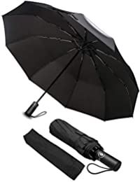 phixilin Parapluie Pliant Coupe, Vent Parapluie Pliant Automatique Compact Ouverture Fermeture 210T Parapluie de Voyage de Voyage 10 Baleines pour Homme et Femme -Noir