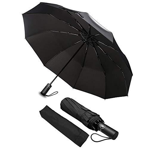 Regenschirm, phixilin Winddicht Regenschirm Taschenschirm Auf-Zu-Automatik Kompakt Leicht Stabile Outdoor-Regenschirm mit 10 Rippen inkl Schirm-Tasche Schirm für Reisen Business - Schwarz