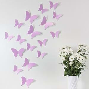 Wandkings Schmetterlinge im 3D-Style in FLIEDER, 12 Stück, Wanddekoration mit Klebepunkten zur Fixierung