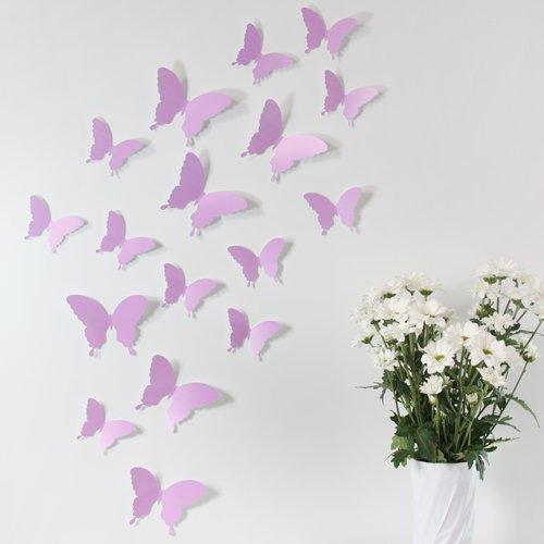 Wandkings 3D Schmetterlinge in FLIEDER, 12 STÜCK im Set mit Klebepunkten