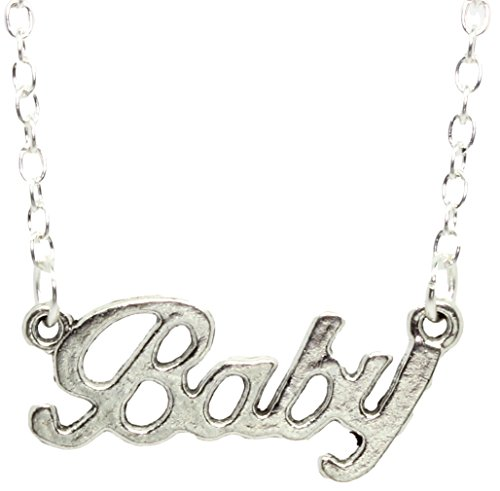 BABY LOVE Silver Word Necklace With FREE Gift Box. Ideal for Baby Spice fancy dress