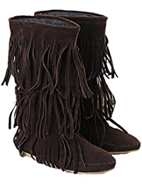 fdfef9d792 Zeagoo Damen Elegante Fringe Damenschuhe Knee Boots Overknee Stiefel  Stiefelette mit Fransen Winterschuhe High…