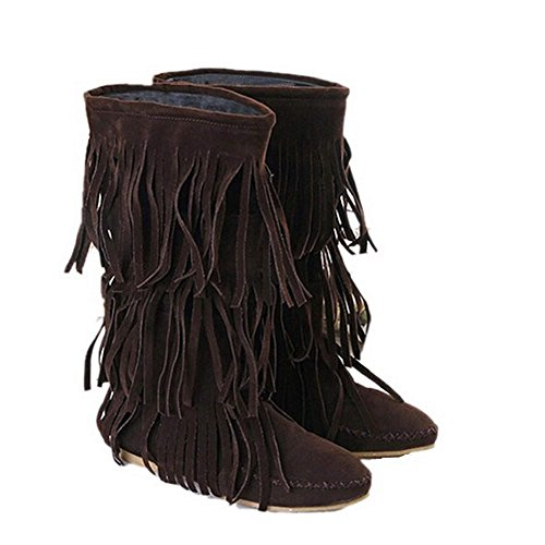 Damenschuhe High Heels Spitze Toe Knie Hoch Fransen Stiefeletten (Mid Boot High Slouch)
