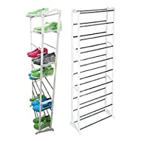 Silver Metal Multi Color 10 Tier Shoe Rack and Organizer