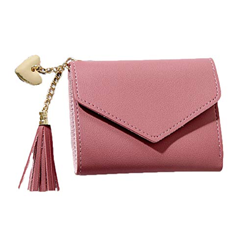 TENDYCOCO Quaste Geldbörse Kleine Tragbare Tasche Einfarbig Brieftasche PU Card Pack Pocket für Frauen (Deep Pink) -