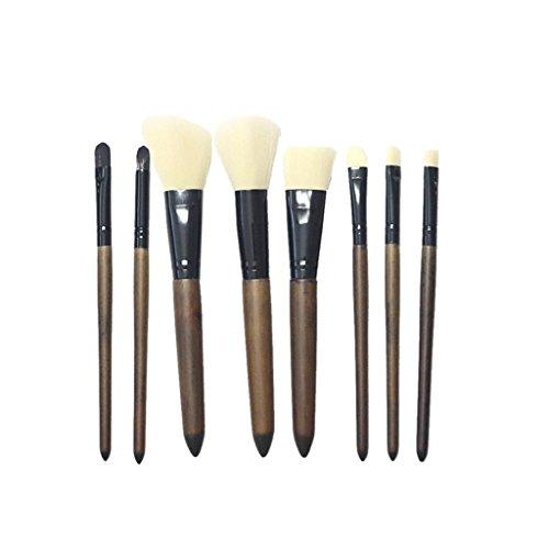 Sharplace 8x Kit Pinceaux Brosses de Maquillage Pro pour Fond de Teint Ombre à Paupières Peinture Visage Brush à Lèvres à Sourcils - Blanc+Noir