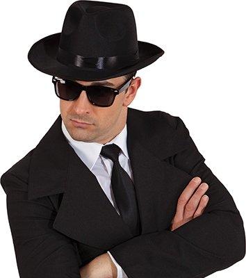 es Mafia Ganoven Out-Fit Gangsterhut mit Brille und schwarzer Krawatte (Man With No Name Kostüm)