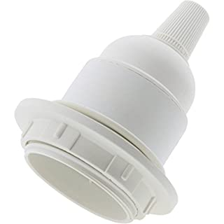 Art Deco Emporium LHE27-RP0-WHT Edison Screw (E27) Bulb Holder in White for Lamp or Pendant Use Supplied with Shade Ring and Flex Grip