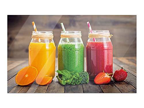 GRAZDesign Glasbilder Küche Bunte Smoothies - Glas Bilder Holzoptik - Glasbilder Obst für Küche Bars Cafe Wohnzimmer / 80x50cm / 100956_80x50_GP